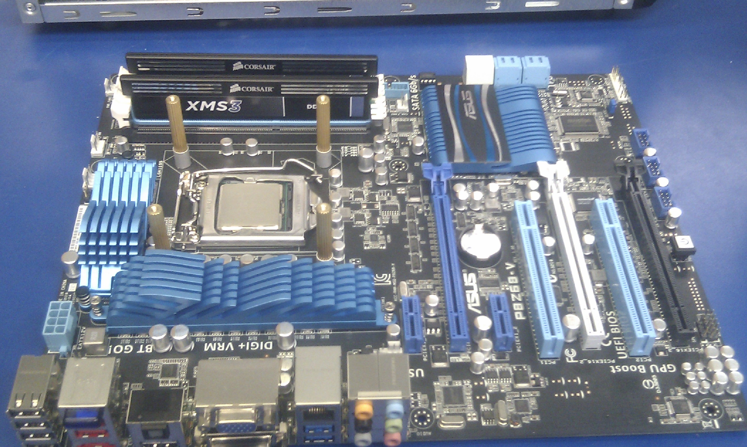 The Asus board set up with the heatsink mounts.