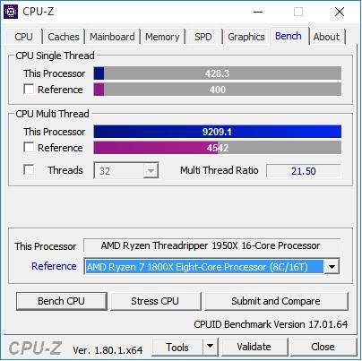 CPU z AMD 1950x benchmark