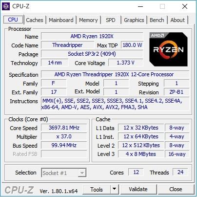 CPUz AMD 1920X