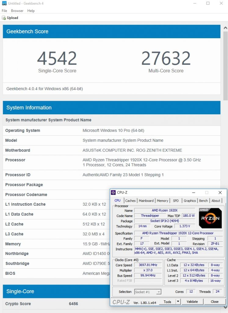Geekbench 4 1720X stock