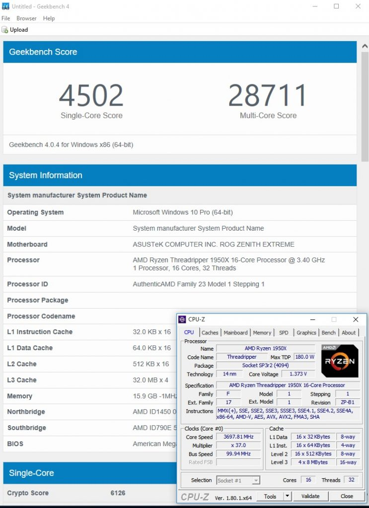 Geekbench 4 1950X stock