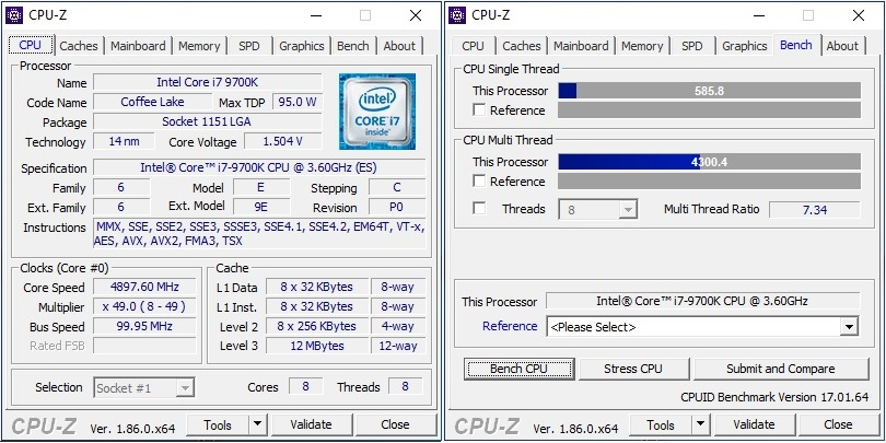 9700k Benchmarked in CPUz
