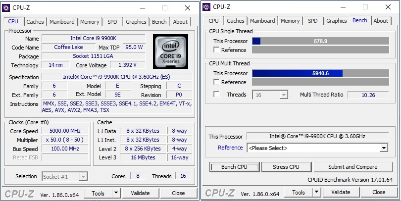 i9 9900X Benchmarked With CPU-z