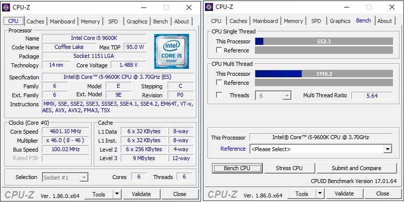 9600K Benchmarked in CPU-Z